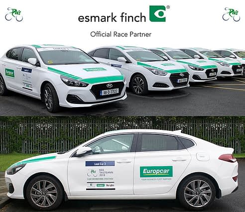 High Visibility</strong> </a>team delivered over 19 fully customized and branded race vehicles which were commissioned by Europcar, another race partner. Esmark Finch official race partner of Ras Tailteann 2018
